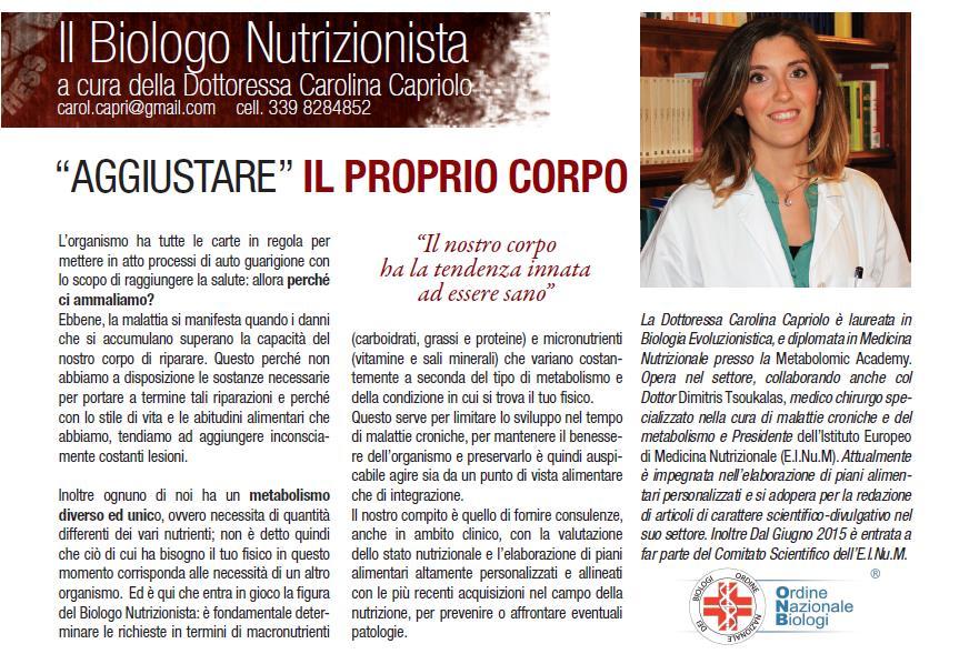 Carolina Capriolo biologa nutrizionista